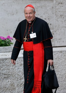 Austrian Cardinal Christoph Schonborn of Vienna arrives for a morning session of the extraordinary Synod of Bishops on the family at the Vatican last year. (CNS/Paul Haring)