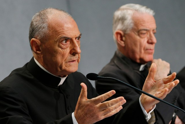 Msgr. Pio Vito Pinto, dean of the Roman Rota, a Vatican court, and president of the commission that drafted the new rules on marriage annulments, explains Pope Francis' decisions to the press Sept. 8. (CNS/Paul Haring)