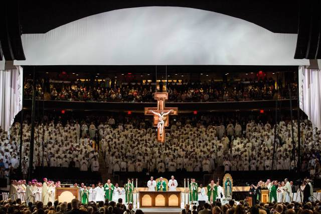 Pope Francis celebrates Mass at Madison Square Garden in New York Sept. 25, day four of his six-day visit to the United States. (CNS/Andrew Burton, pool)