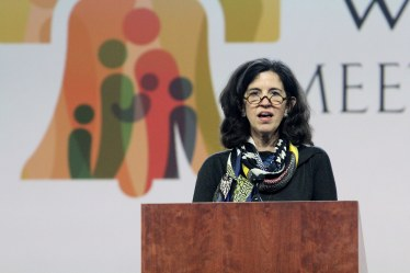 Keynote speaker Helen Alvare at the World Meeting of Families in Philadelphia. (CNS/Sarah Webb, CatholicPhilly.com)