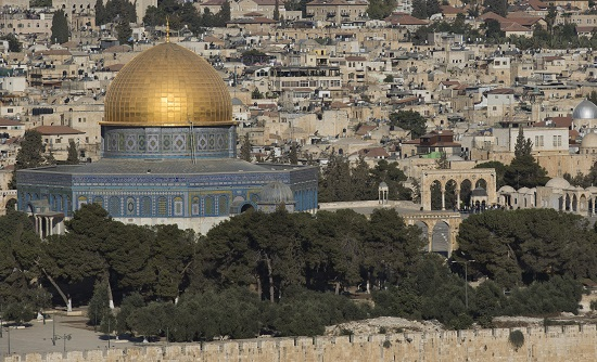 The gold-covered Dome of the Rock at the Temple Mount complex is seen in this overview of Jerusalem from the Mount of Olives Sept. 28. (CNS photo/Atef Safadi, EPA)