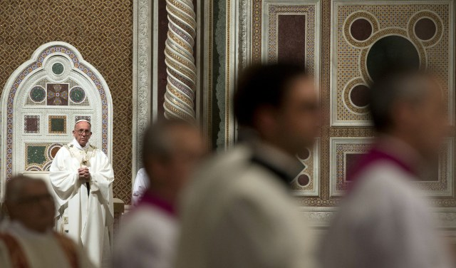 Pope Francis celebrates the ordination Mass of Bishop Angelo De Donatis as an auxiliary bishop of Rome in the Basilica of St. John Lateran Nov. 9. (CNS/EPA)