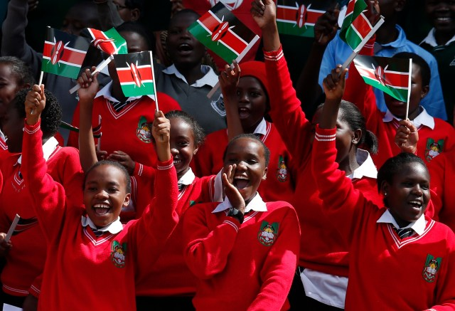 Students cheer as they wait for Pope Francis' arrival to meet with youths at Kasarani Stadium in Nairobi, Kenya, Nov. 27.
