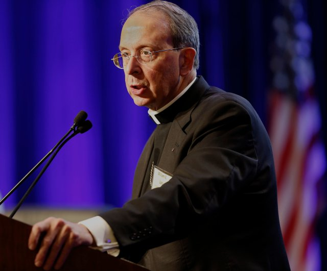 Baltimore Archbishop William E. Lori, pictured at the U.S. bishops' meeting in November in Baltimore, said proposals to restrict religion raise alarms. (CNS photo/Bob Roller)