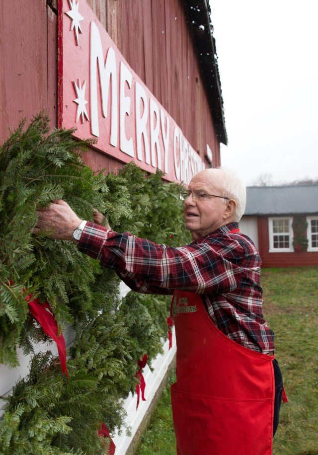 Michael Ryan selects a handmade wreath for a customer at his Clemsonville Christmas Tree Farm in Union Bridge, Md., Dec. 2. (CNS photo/Jaclyn Lippelmann, Catholic Standard)