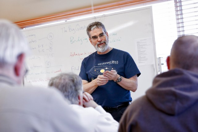 Jesuit Brother Guy Consolmagno, director of the Vatican Observatory, facilitates the Faith and Astronomy Workshop at the Redemptorist Renewal Center in Tucson. (CNS/Nancy Wiechec)