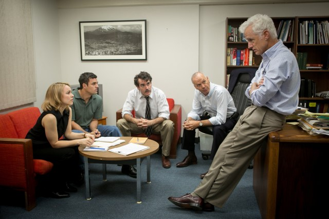 "Rachel McAdams, Mark Ruffalo, Brian d'Arcy James, Michael Keaton and John Slattery in a scene from ""Spotlight,"" (CNS/Open Road Films)"