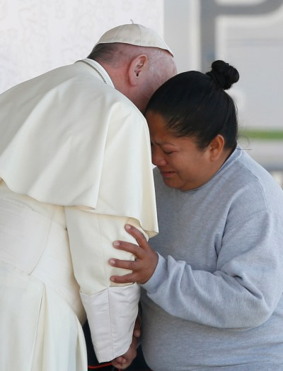 Pope Francis embraces a female prisoner as he visits Cereso prison in Ciudad Juarez, Mexico, Feb. 17. (CNS/Paul Haring)