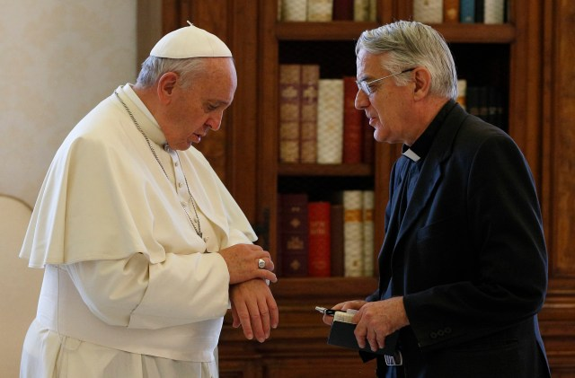 Jesuit Father Federico Lombardi with Pope Francis in a 2014 file photo. (CNS/Paul Haring)