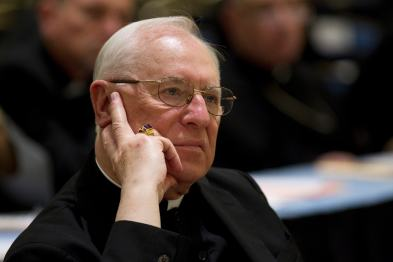 Bishop Joseph V. Adamec is pictured in 2010 during a U.S. bishops meeting in Baltimore. A grand jury report released March 1 by Pennsylvania Attorney General Kathleen G. Kane said the now-retired bishop and his predecessor, Bishop James J. Hogan, covered up clerical sex abuse in the Diocese of Altoona-Johnstown. (CNS file/Nancy Wiechec)