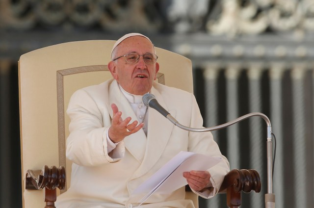 Pope Francis speaks during his general audience in St. Peter's Square at the Vatican March 2. (CNS/Paul Haring)