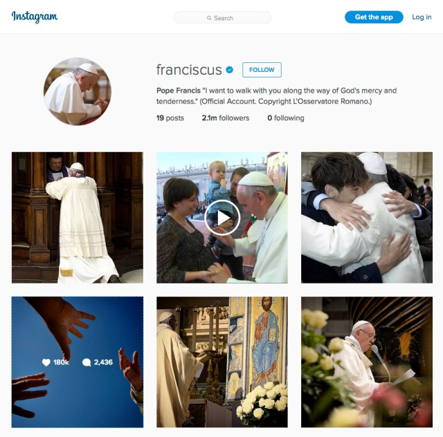 A screen capture of Pope Francis' page on Instagram. He joined the photo-sharing site March 19. (CNS photo)