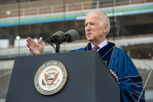 Vice President Joe Biden delivers an address after receiving the Laetare Medal during the 2016 commencement ceremony May 15 at Notre Dame Stadium in Indiana. (CNS/Barbara Johnston, University of Notre Dame)