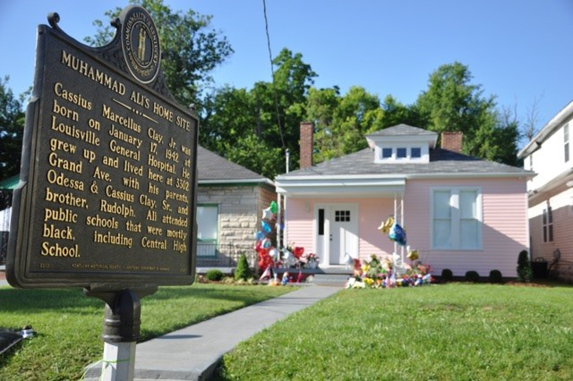 A memorial for the late Muhammad Ali is seen at his childhood home in Louisville, Ky., June 7. The home is open to the public. (CNS/Jessica Able, The Record)