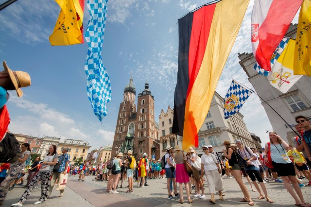 World Youth Day pilgrims gather on Krakow's main square in Poland July 26. (CNS/Jaclyn Lippelmann, Catholic Standard)