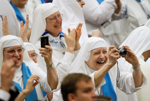 Nuns attend Pope Francis' general audience at the Vatican Aug. 10. The Vatican announced that the pope the previous day had made private visits to two convents outside Rome. (CNS/Reuters)