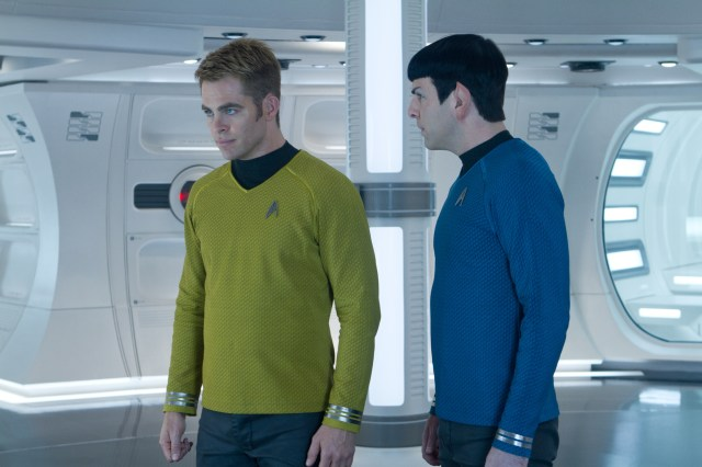 "Chris Pine and Zachary Quinto star in a scene from the movie ""Star Trek Into Darkness."" (CNS/Paramount)"