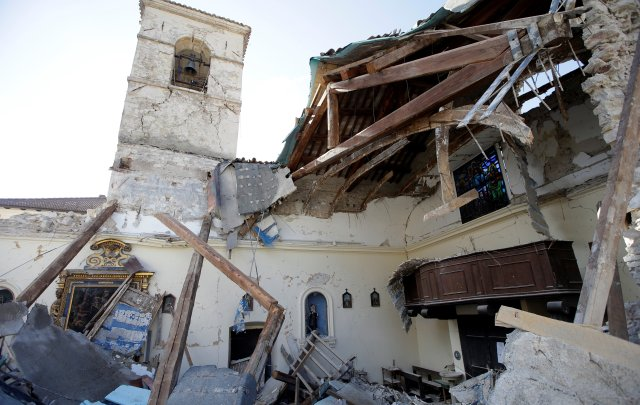 A collapsed church is seen Oct. 27 after an earthquake in Borgo Sant'Antonio near Visso, Italy. (CNS/Reuters)