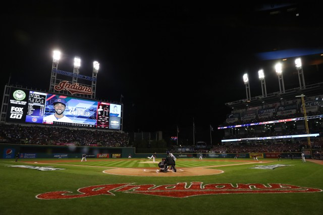 Cleveland Indians' pitcher Corey Kluber throws to Chicago Cubs' center fielder Dexter Fowler during the 2016 World Series at Progressive Field. (CNS/pool photo via USA TODAY Sports)
