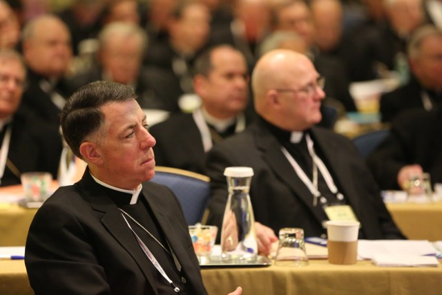 Bishop James F. Checchio of Metuchen, N.J., listens to a speaker Nov. 15 during the annual fall general assembly of the U.S. Conference of Catholic Bishops in Baltimore. (CNS/Bob Roller)
