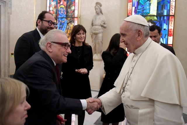 Pope Francis meets U.S. film director Martin Scorsese during a Nov. 30 private audience at the Vatican. (CNS/L'Osservatore Romano)