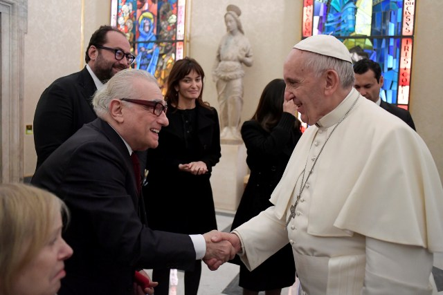 "Pope Francis meets U.S. film director Martin Scorsese during a Nov. 30 private audience at the Vatican. The meeting took place the morning after the screening of his film, ""Silence,"" for about 300 Jesuits. (CNS photo/L'Osservatore Romano, handout)"