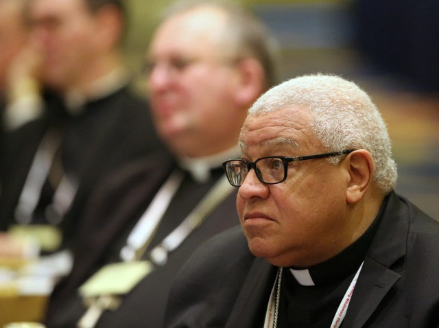 Bishop George V. Murry of Youngstown, Ohio, pictured in a 2016 photo, is chair of the U.S. bishops' Committee on Catholic Education and chair of the National Catholic Educational Association's board of directors. (CNS/Bob Roller)