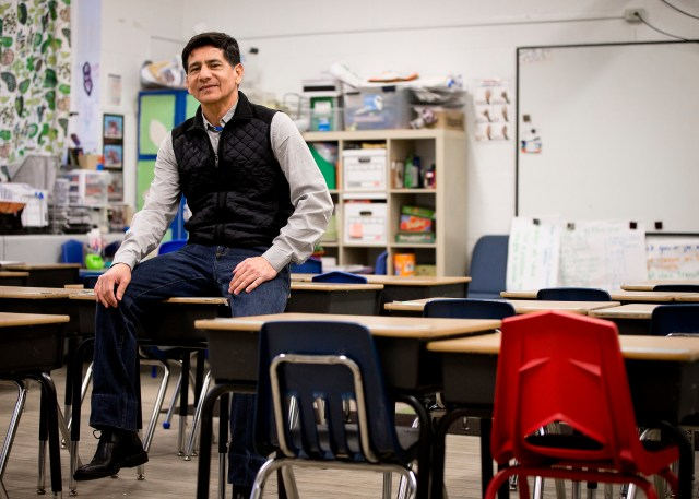Mario Gamboa, founder of a Spanish literacy center in Washington called CENAES, or El Centro de Alfabetizacion en Espanol, poses for a photo at D.C. Bilingual Public Charter School in Washington. (CNS/Tyler Orsburn)