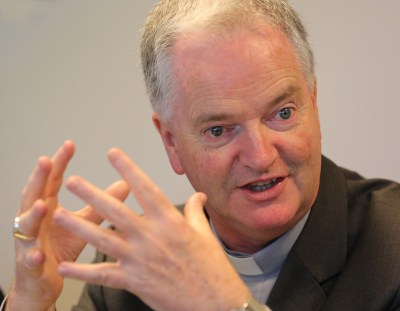 Irish Bishop Paul Tighe is the adjunct secretary of the Pontifical Council for Culture. (CNS/Bob Roller)