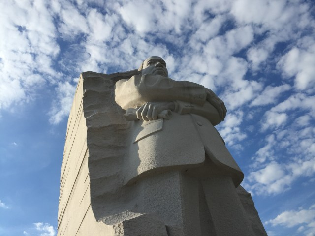 A 30-foot sculpture of the Rev. Martin Luther King Jr. towers over a memorial to the slain civil rights leader in Washington. (Photo by Jim Lackey)