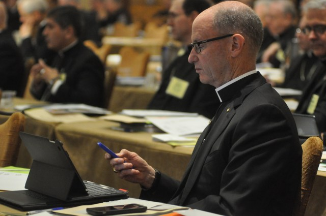A bishop votes June 15 during the U.S. Conference of Catholic Bishops' annual spring assembly in Indianapolis. (CNS/Sean Gallagher, The Criterion)