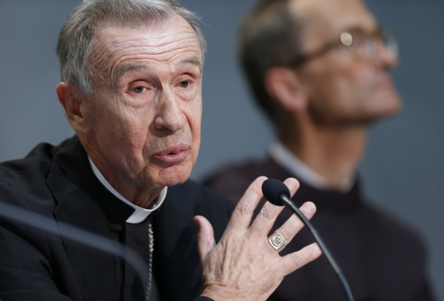 Spanish Archbishop Luis Ladaria Ferrer, 73, has been appointed by Pope Francis as the new prefect of the Congregation for the Doctrine of the Faith. The Jesuit theologian has served as secretary of the congregation since 2008. He is pictured at a Vatican press conference for the release of Pope Francis' documents on marriage annulments in this Sept. 8, 2015, file photo. (CNS/Paul Haring)