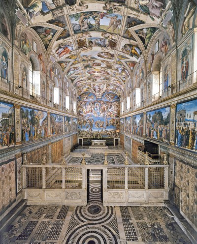 """In the documentary illustrating Pope Francis' """"gospel of art,"""" the pontiff calls the Sistine Chapel """"a work of evangelization"""" and catechesis of God's mercy. (CNS/Vatican Museums)"""