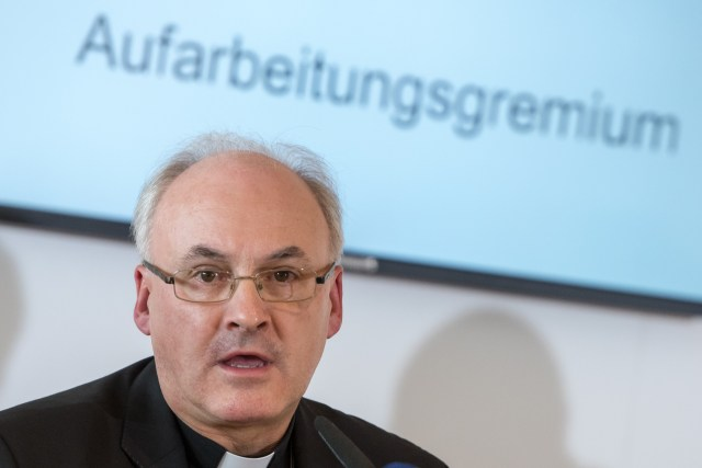 Bishop Rudolf Vorderholzer speaks last year about cases of sexual abuse in the Domspatzen choir during a press conference in Regensburg. (CNS file/EPA)
