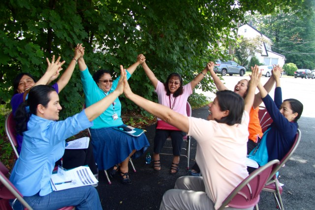 Participants at the 2017 Giving Voice National Gathering take part in an activity July 6 during the conference at Iona College in New Rochelle, N.Y. Giving Voice is a network for women religious under 50. (CNS/courtesy Giving Voice)