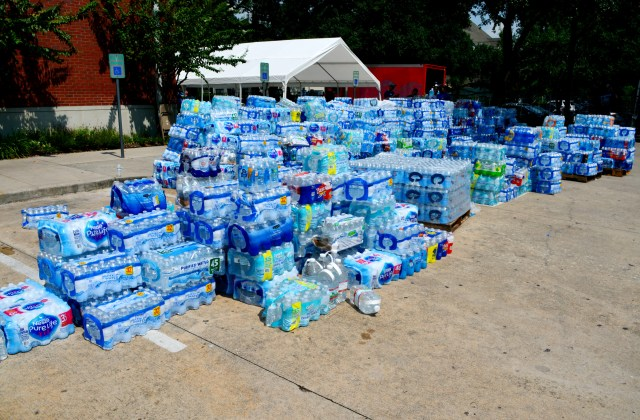 Water bottles are seen at a Catholic Charities center in Houston, Texas, Sept. 3.  More than 1,300 people were helped with basic necessities, referrals, emergency funds and gift cards to help them deal with the challenges caused by Hurricane Harvey. (CNS/courtesy Catholic Charities)