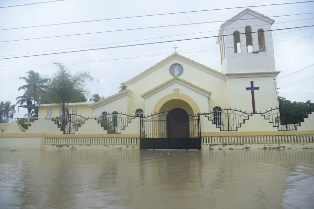 A flooded church caused by Hurricane Irma is seen Sept. 7 in Villa Vasquez, Dominican Republic. (CNS/EPA)