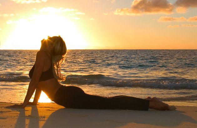Sun salutations (Surya namaskar) yoga pose
