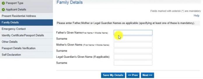 Family Details for Passport Seva