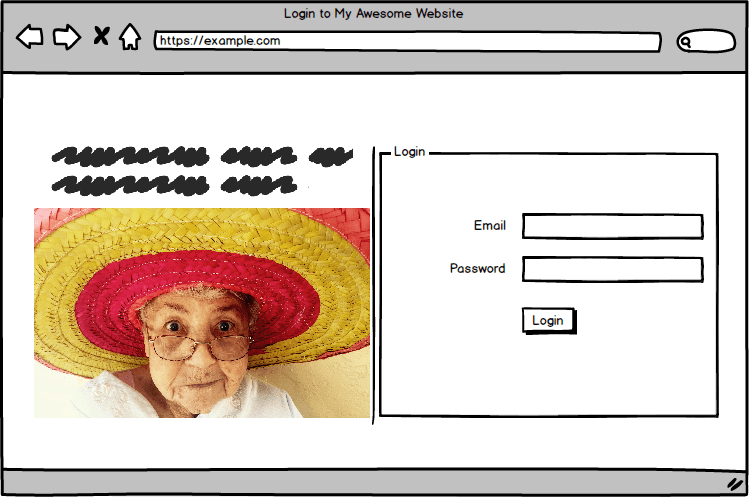 login form at right with a face at the left