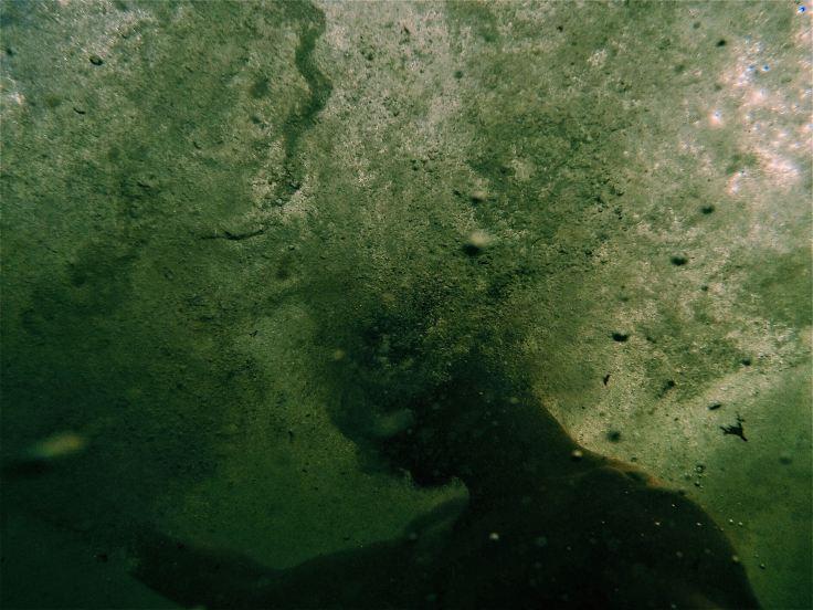Photo prise sous l'eau où on voit difficilement une personne qui vient de plonger, l'eau est trouble, il y a des bulles partout. Prenez du recul, regardez à l'intérieur de vous, écouter vos émotions. Quand vous on dit que la solution c'est vous.