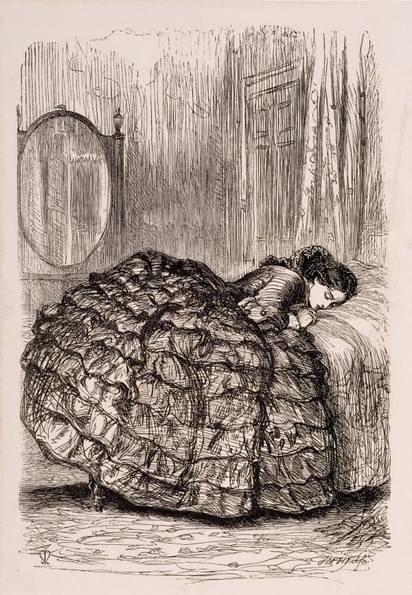 gravure jeune fille effondrée sur son lit