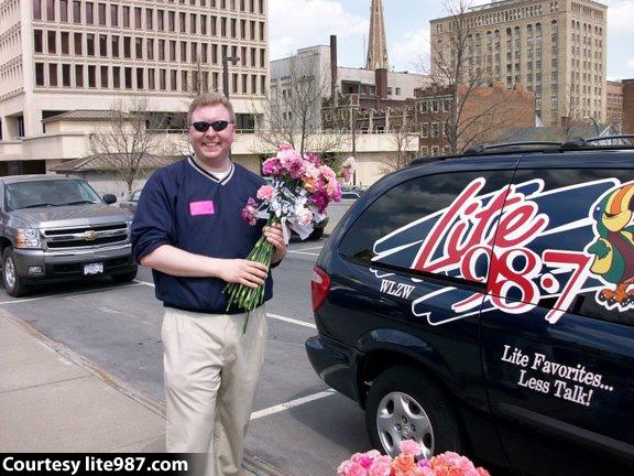 WLZW's Eric Meier with Carnations