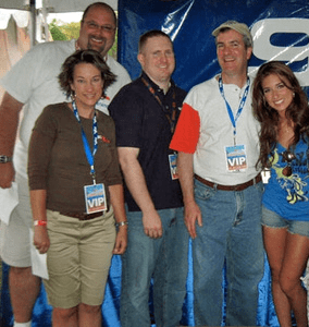 """Ted and Amy on the left, with 93Q colleagues Rick Roberts and Tom Mitchell next to singer Jessie James in this CNYRadio.com Picture of the Week from """"Summer Jam on the Island"""" in 2009."""
