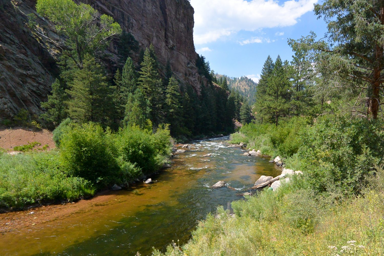 Upper South Platte River by a cliff wall