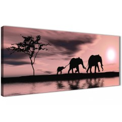 Orange And Black Sofa Bed Hot Pink Blush African Sunset Elephants Canvas Wall Art Print ...