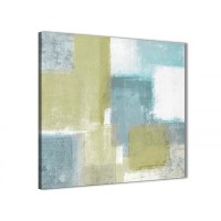 Lime Green Teal Abstract Painting Canvas Wall Art Print ...