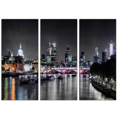 Sofa Bed Cheap London Snack Table Tray Skyline At Night Canvas Art 3 Panel For Your ...