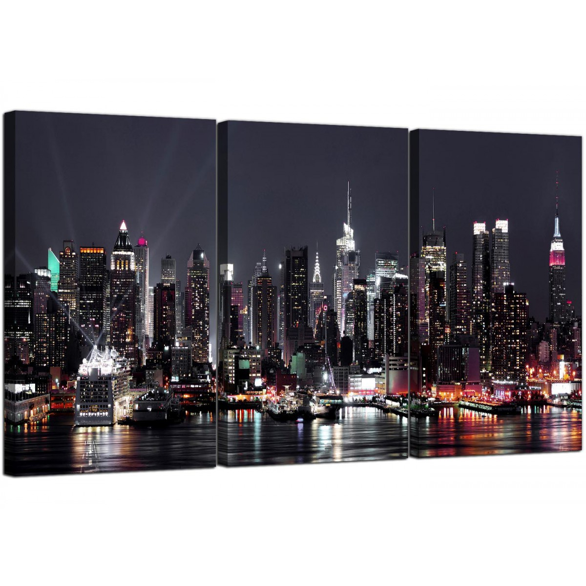 orange sofa bed red leather recliner large new york skyline canvas pictures set of 3 for your ...