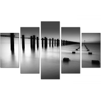 Extra Large Sea Canvas Prints 5 Piece in Black & White